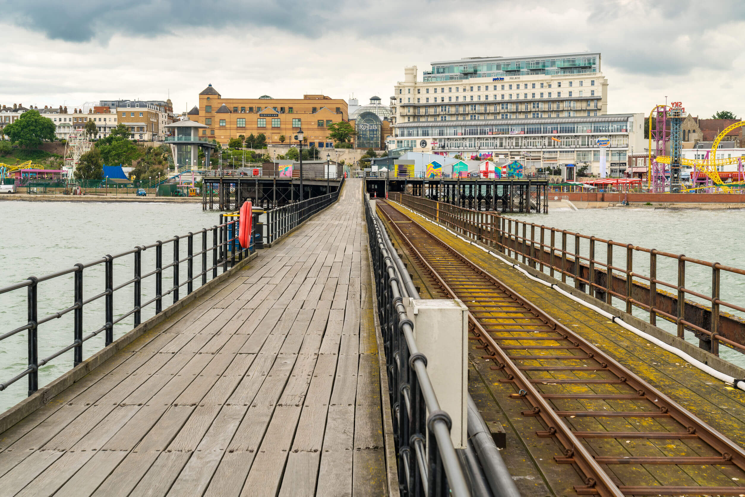 Southend-on-Sea, Essex, England, UK - May 30, 2017: View from Southend Pier towards Southend