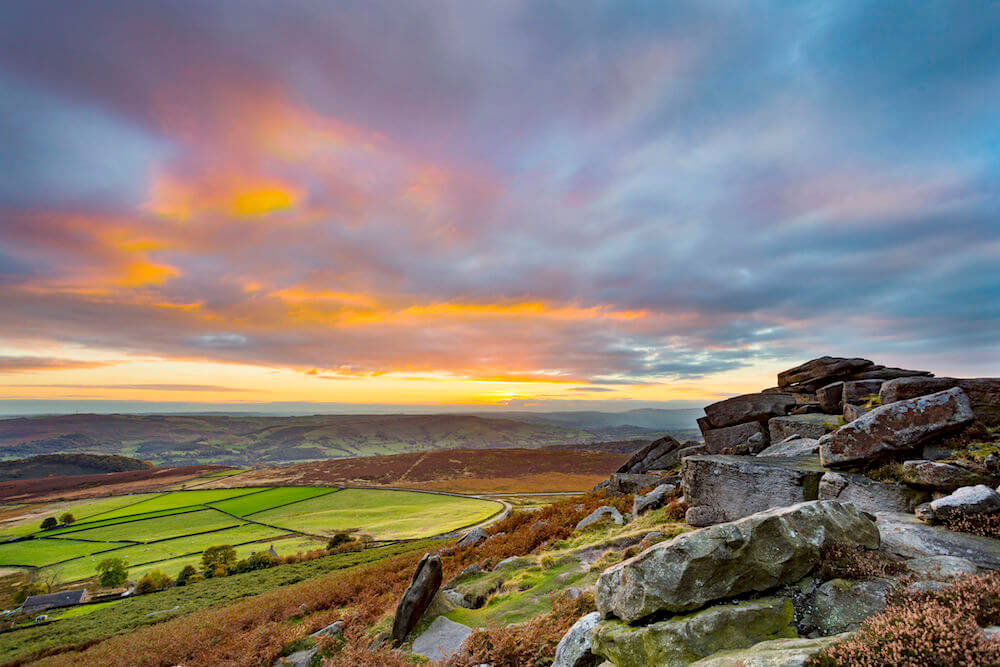 Sunset from Stanage Edge, in the Peak District National Park, Derbyshire, England, UK.