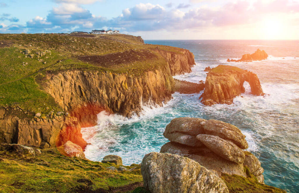 Dramatic cliffs at Lands End in Cornwall., Cornwall, England