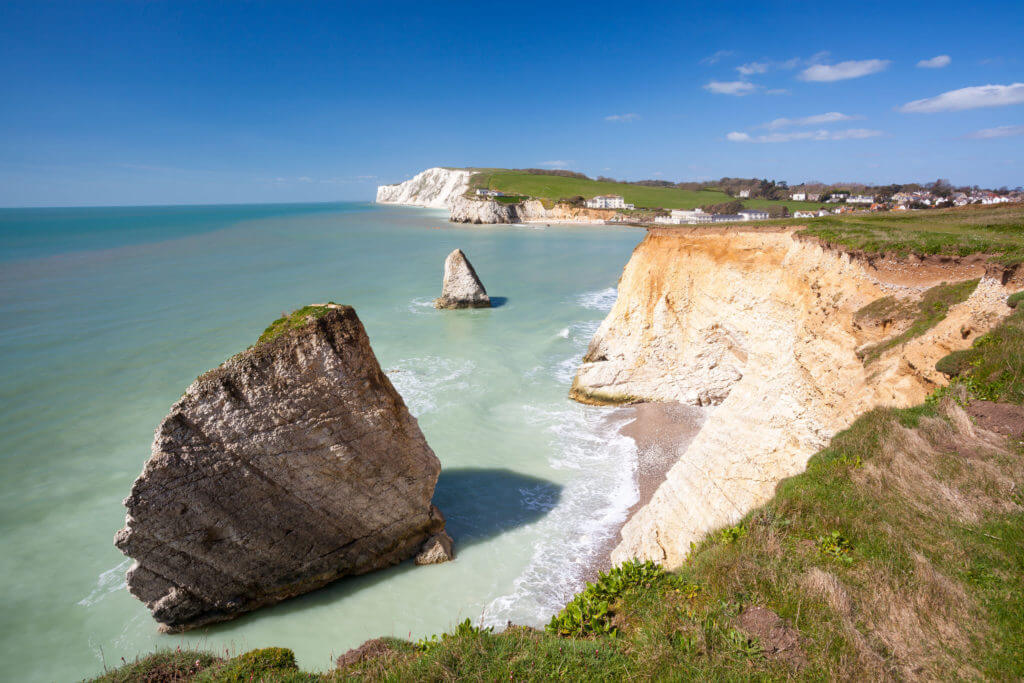 Dramatic chalk cliffs at Freshwater Bay on the Isle Of Wight England UK Europe