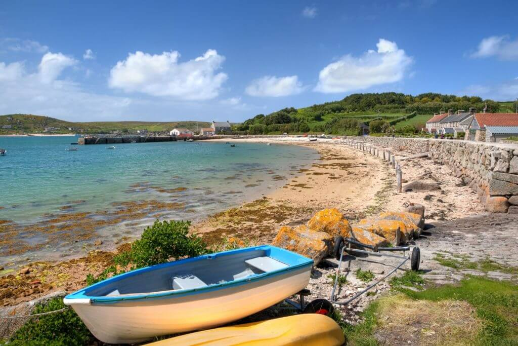 Looking towards the quay at New Grimsby, Tresco, Isles of Scilly, Cornwall, England.
