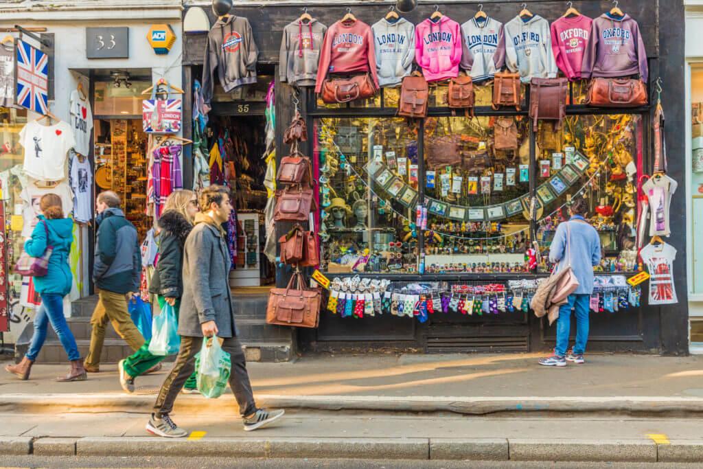 London. November 2018. A view of classic colourful british shops near Portobello Road Market in London