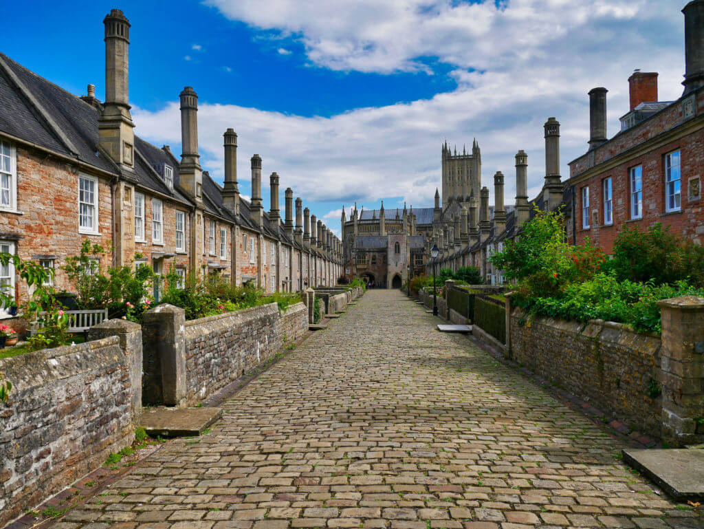 Vicars' Close, Wells, Somerset, UK - claimed to be the oldest purely residential street with original buildings surviving intact in Europe. Wells Cathedral is at the far end.