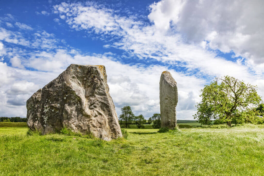Standing stones known as The Cove, at Avebury, the Neolithic henge monument containing three stone circles, including the biggest stone circle in the world. Wiltshire, UK.