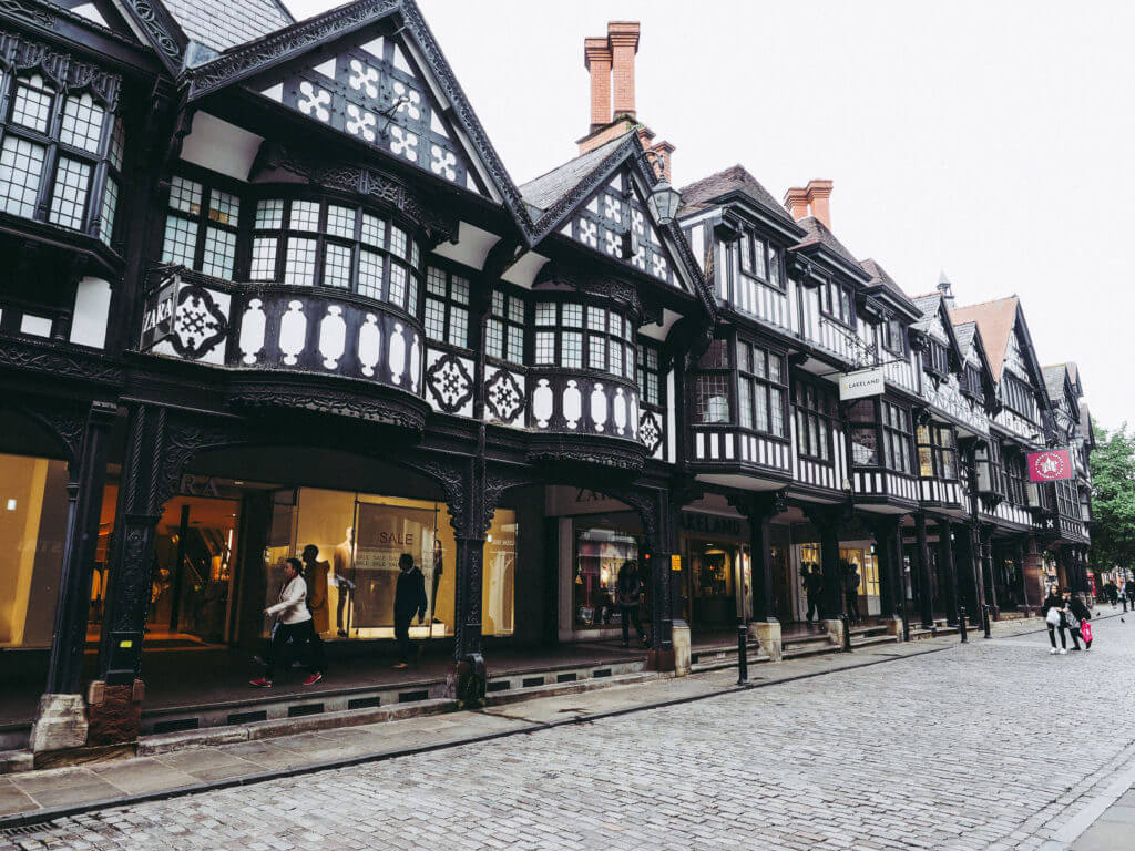 CHESTER, UK - CIRCA JUNE 2016: Medieval Chester Rows