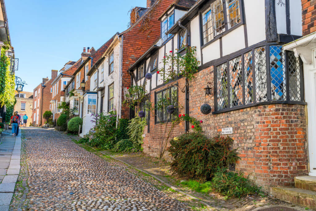 RYE, UK - SEPTEMBER 15, 2019:A small English town of Rye with it's cobbled lanes lined with medieval half-timbered houses is situated near the coast in East Sussex and is a popular tourist destination