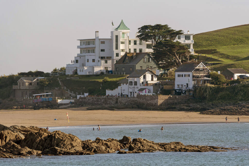 Burgh Island hotel viewed from the west.  South Devon, England, UK