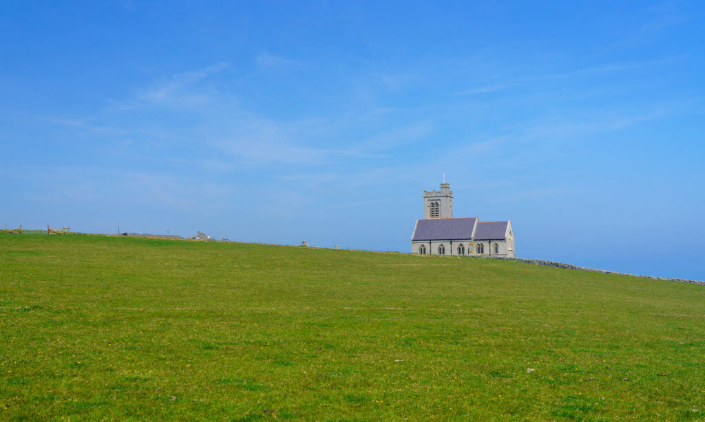 Church with tower on Lundy Island off the coast of Devon