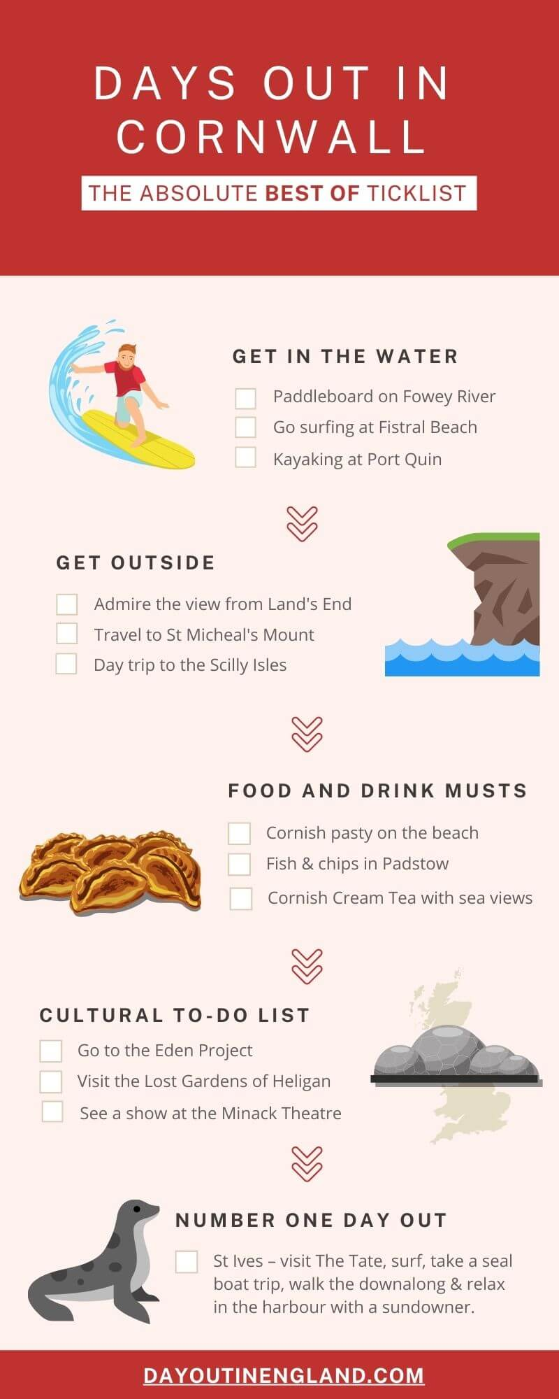 Best Days Out in Cornwall infographic