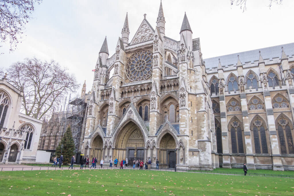 London, UK - December 22, 2016 : The Gothic church of Westminster Abbey, the site of English coronations in London.