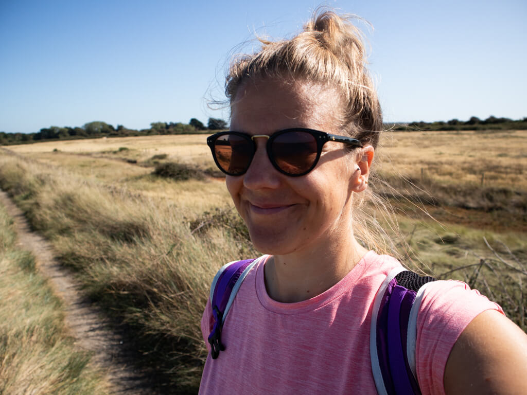 Vicky on the Thorney Island Walk