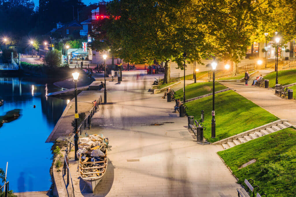 This is a night view of the Thames riverfront area in Richmond which is a famous landmark on October 16, 2017 in London