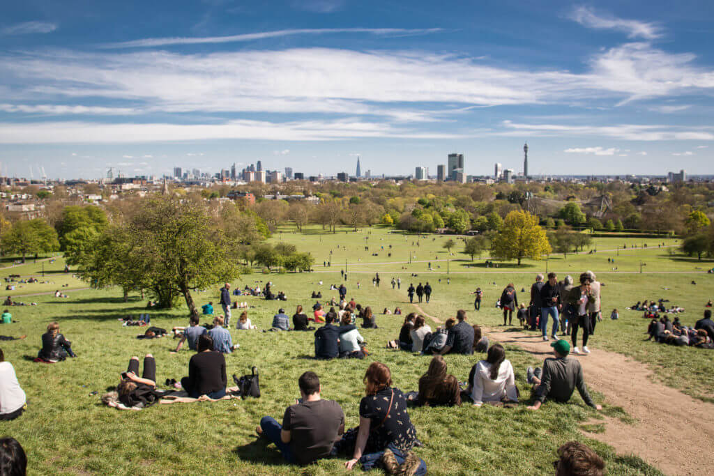 View of London skyline from Primrose Hill. London, 2017. Landscape format.