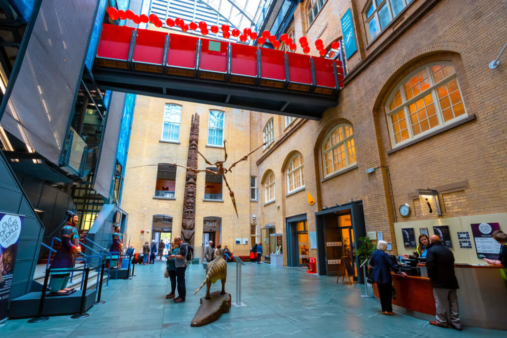 Liverpool, UK - May 16 2018: World Museum Liverpool houses extensive collections of archaeology, natural and physical sciences, included the Natural History Centre and a planetarium