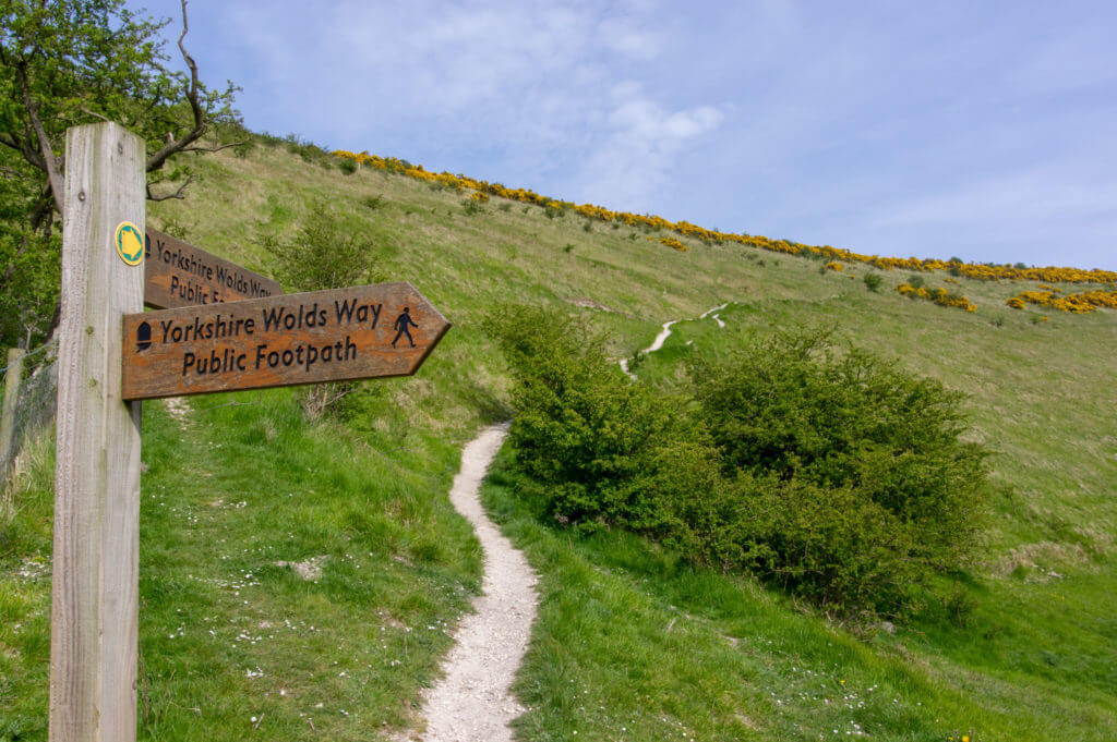 Signs on the Wolds Way in East Yorkshire