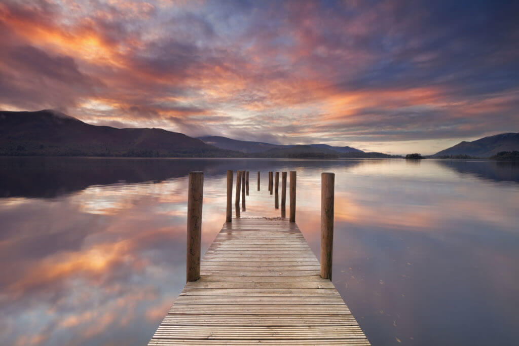 A flooded jetty in Derwent Water, Lake District.