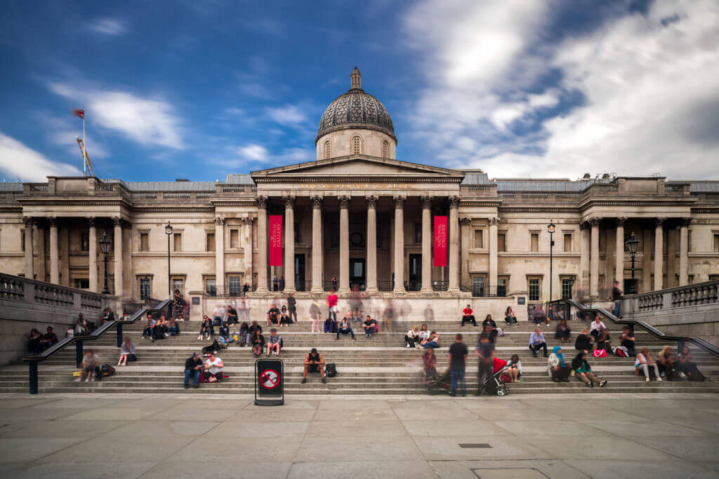 LONDON, UNITED KINGDOM - MAY 14: The national gallery at Trafalgar square on May 14, 2018 in London