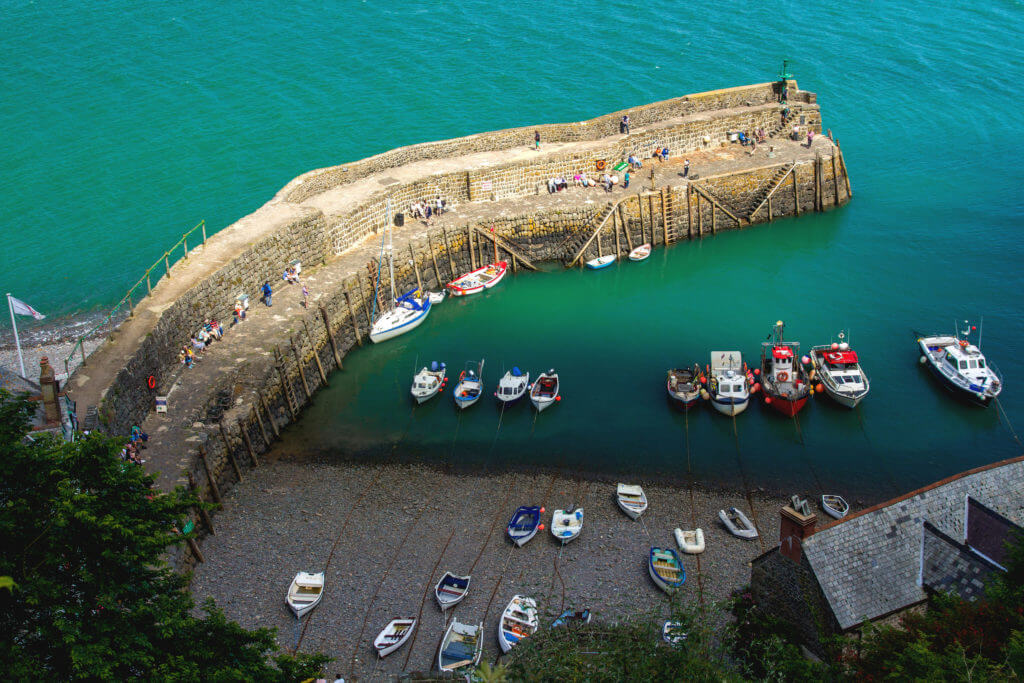 The old bay in the village of Clovelly. A popular tourist place in England. Devon