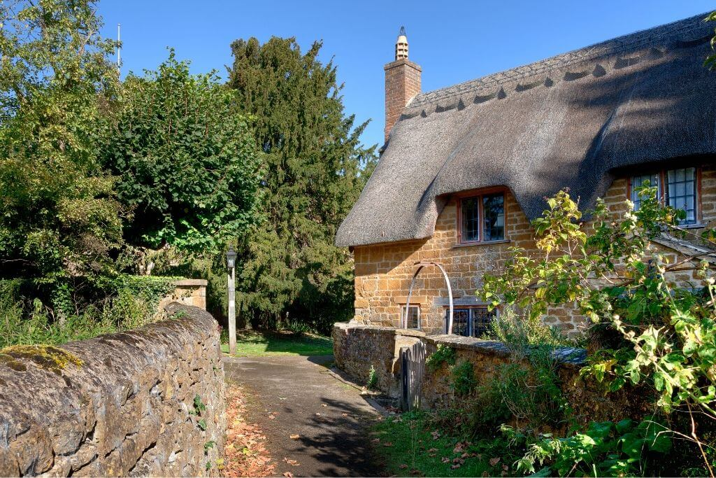 Stone built thatched cottage, Warwickshire